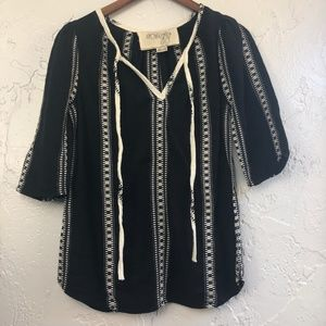 Ace & Jig Embroidered Peasant Blouse Black XS